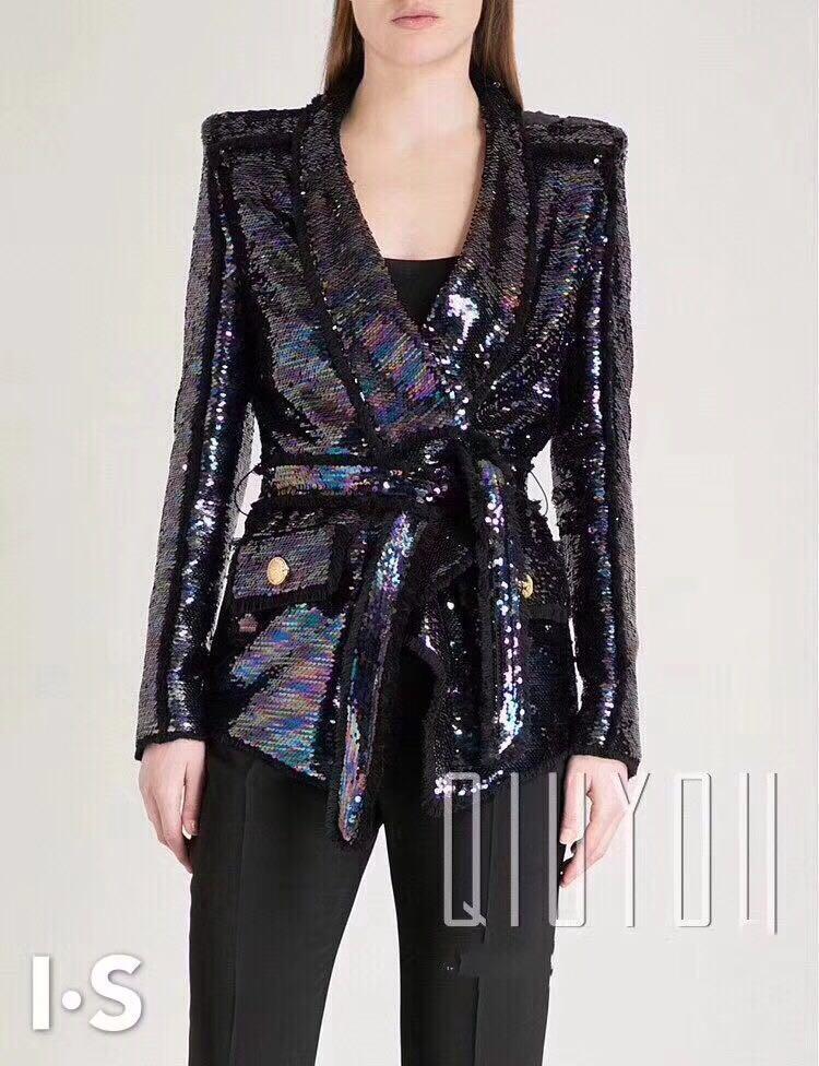 Sonbahar yeni renkli sequins coat gevşek sokak tarzı moda parti kadın ceketler