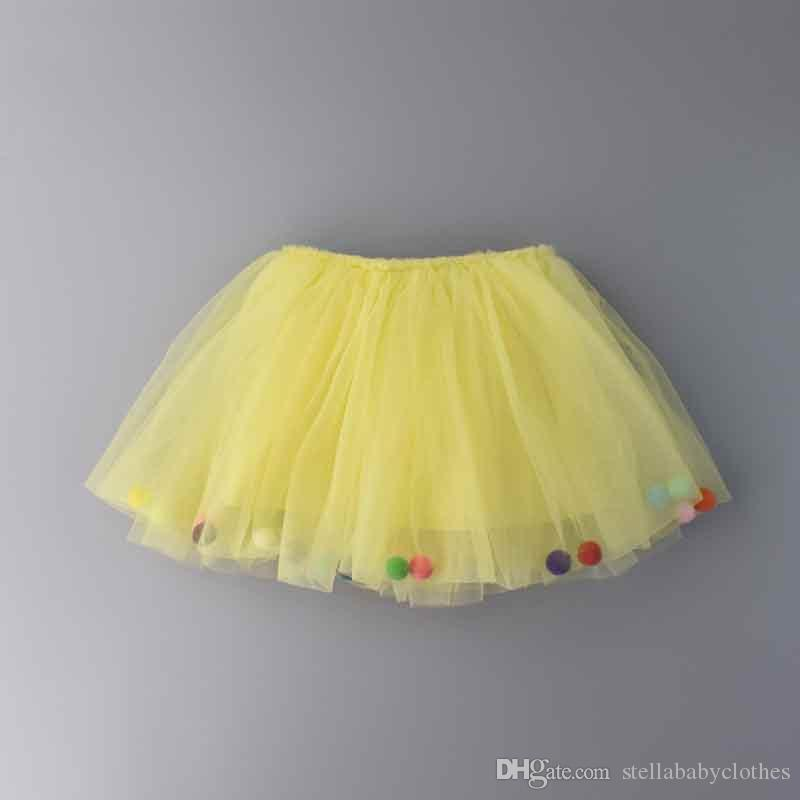 Fashion Princess Party Dance Skirts Candy Color Baby Girls Clothing with Pom Summer Baby Girls Tutu Skirt 2018 New Style Hot Sales