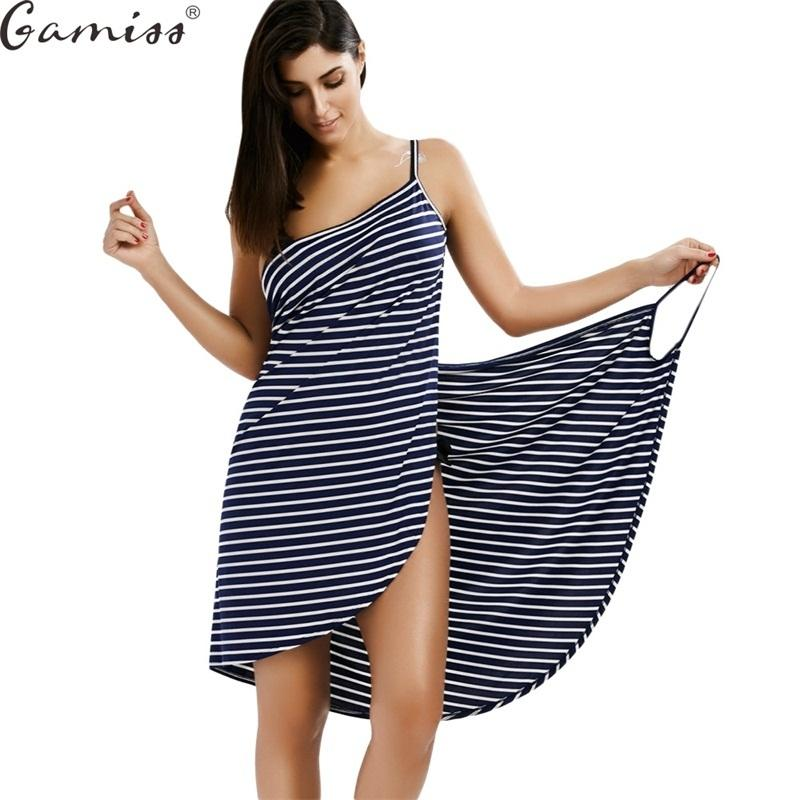 6c6075e2884 Gamiss Women Summer Striped Dress 2017 Sexy Spaghetti Strap Open Back Cover  Ups Dress Deep V Neck Beach Casual Dress Vestidos Y1891307 Canada 2019 From  ...