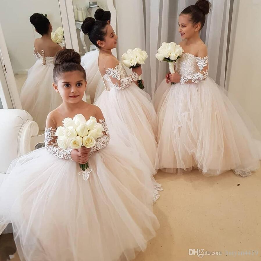 2019 Cheap Arabic Blush Pink Flower Girls Dresses For Weddings Long Sleeves  Lace Appliques Ball Gown Birthday Girl Communion Pageant Gowns Grey Flower  Girl ... 8dd8274c73fc