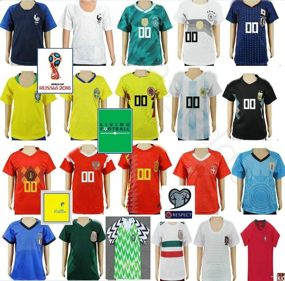 b6e0368ff13 Kids Soccer Jersey Colombia Mexico Argentina Belgium Spain Japan ...