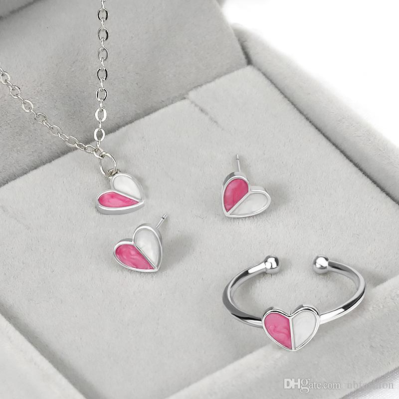 d320d1f79 Wholesale Small Fresh And Sweet Ice Cream Silver Earrings Clavicle Necklace  Simple Handmade Ring White Gold Love Heart Jewelry Set For Woman Silver  Pendant ...