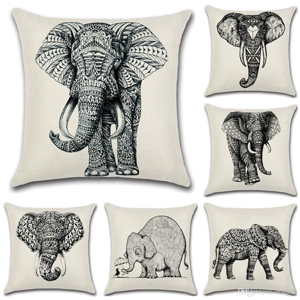 Großhandel 6 Designs Blackwhite Elefanten Muster 45 * 45 Cm Haushalt ...