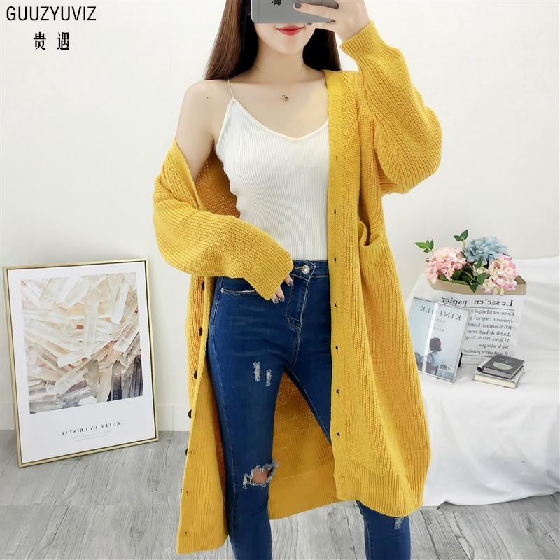 10b90d81d4d 2019 GUUZYUVIZ Gilet Femme Manche Longue Solid Casual Single Breasted  Pocket Knitted Long Cardigan Women 2018 Autumn Winter Outwear From  Smotthwatch