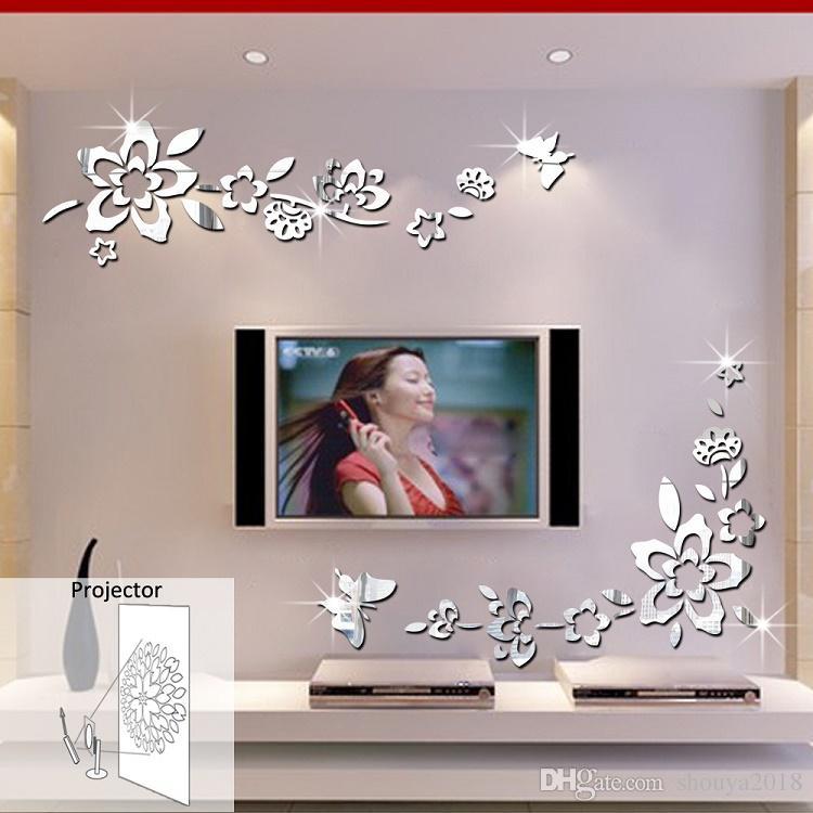Modern Corner Cloth Glass Mirror Door & Window Decorative Cloth Acrylic Mirror Wall Sticker Home Decoration Diagonal Flower