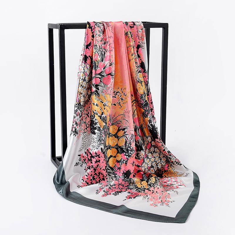 New Women Printing Flower Square Scarf Silk Scarves Ladies Office