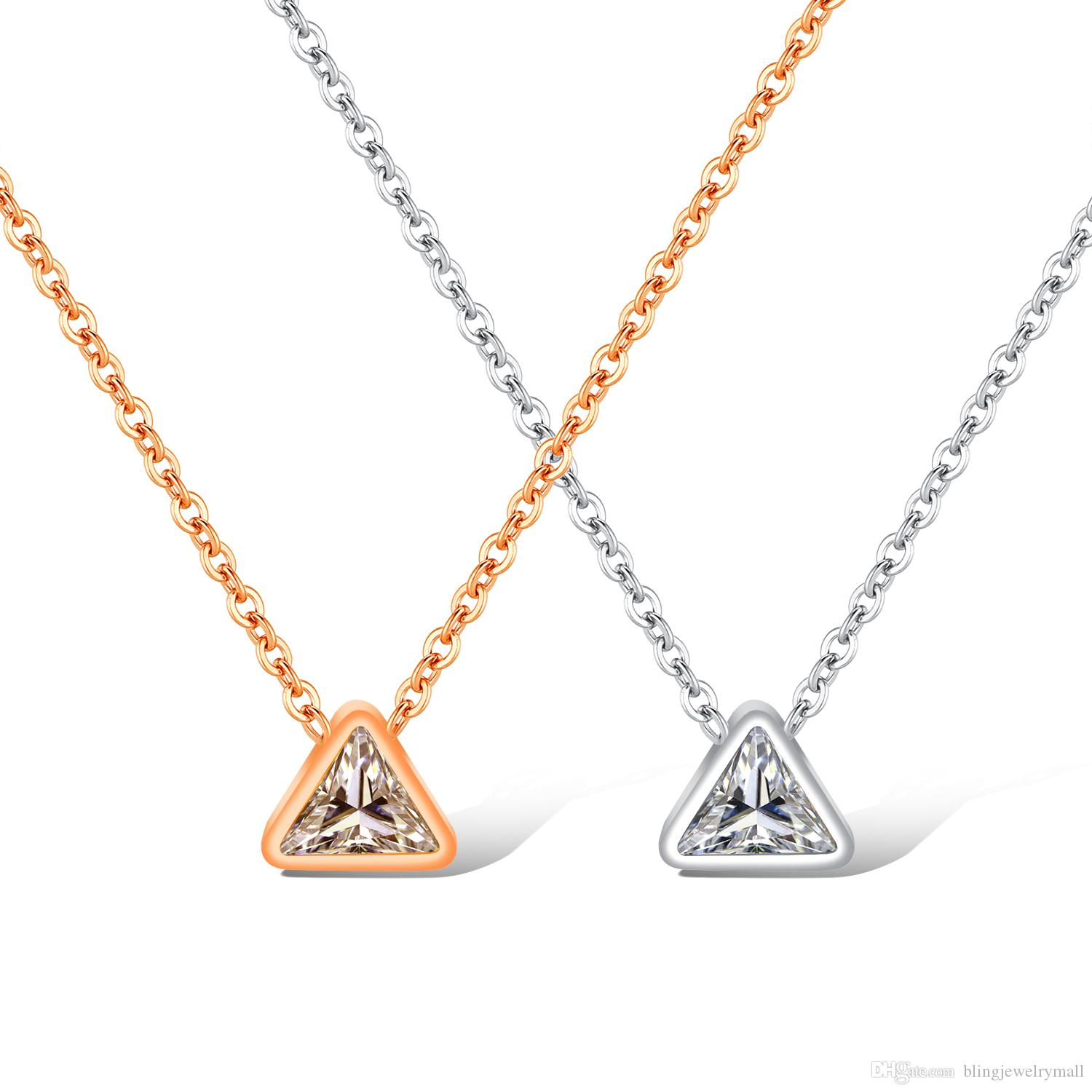 74a696f29862f Trendy Simple Link Chains Silver Rose Gold Triangle Pendant Necklaces  Delicate Minimal Women Charm Necklace Jewelry GX1399