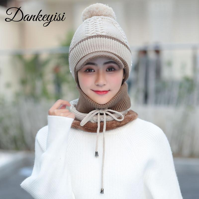 9a9146dc0a6 2019 DANKEYISI Women Winter Scarf And Hat Set Lady Mask Winter Hat For Women  Beanies Skullies Bonnet Femme Balaclava Sacrf Set Female From Lbdfashion