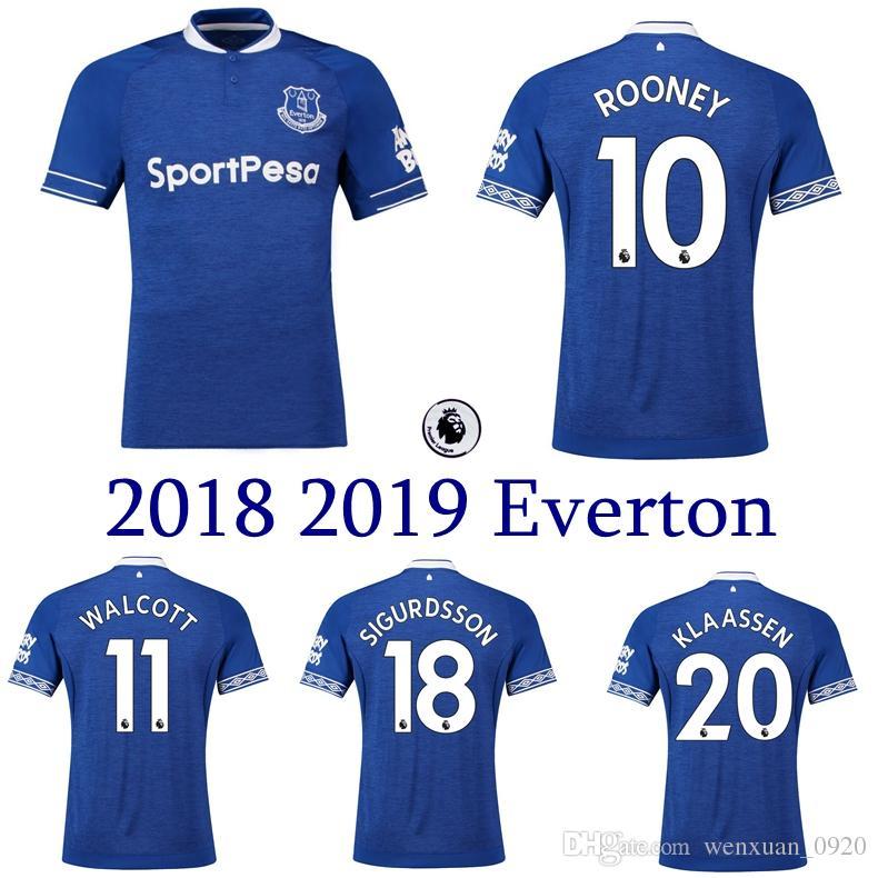 c442e14f0912f Compre 2018 2019 Everton Camisa De Futebol 18 19 Camisas De Futebol Em Casa  ROONEY WALCOTT SIGURDSSON KLAASSEN NIASSE Camisa De Qualidade Superior De  ...