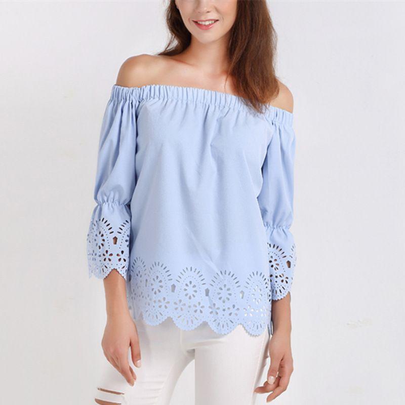 90626e1ff9f255 2019 Women Blouses Solid Off Shoulder Slash Neck 3 4 Sleeve Womens Summer  Tops Blusas 2018 Elegant Shirts Vintage Blouse Light Blue From  Lin and zhang