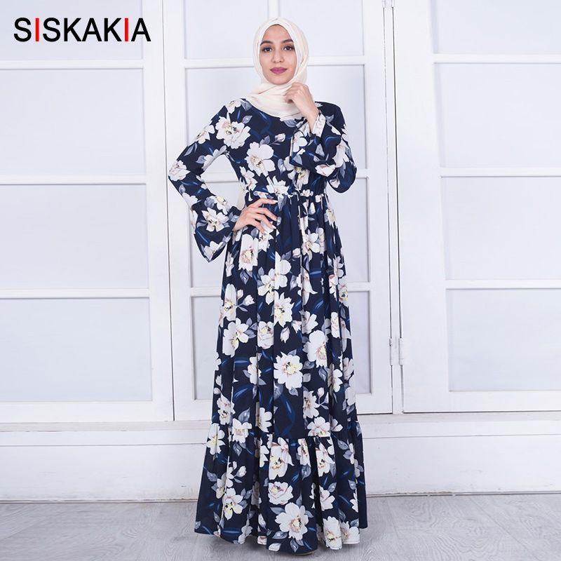 66aaf13dda26c Siskakia Muslim women robes Fashion floral abaya flare long sleeve round  neck Ramadan clothing slim sashes Draped Swing Dresses