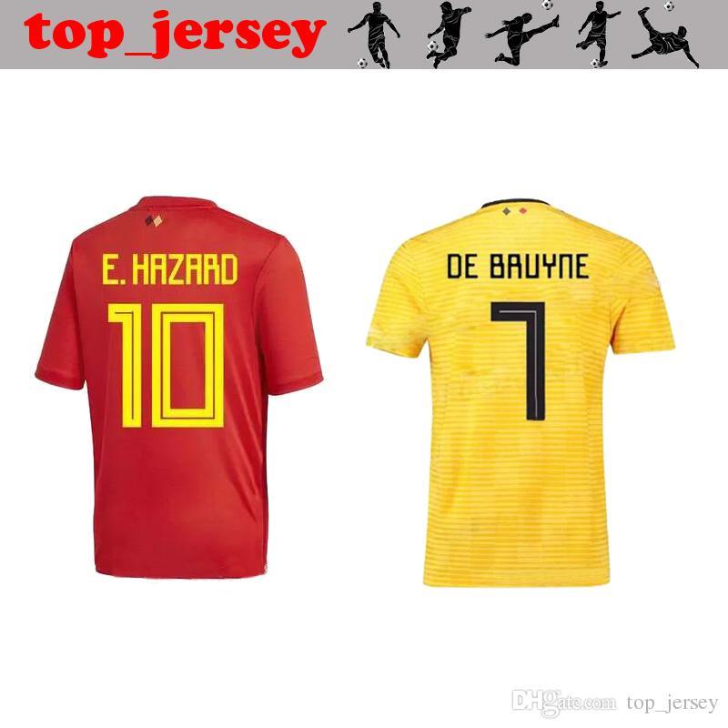 Compre Bélgica Camisa De Futebol 2018 LUKAKU Longe De Casa DE BRUYNE  FELLAINI E.HAZARD KOMPANY Bélgica Camisa De Futebol Homens Copa Do Mundo  Camisa De ... 7d7bbad34f128