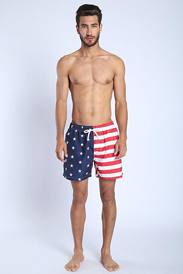 dd10665ec7 Summer Flamingo USA Flag Anchor Beach Men's Swim Trunks Quick Dry Bathing  Suit Man Fashion Beach Shorts K805 S-XL 6 color
