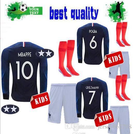 Compre 2018 Campeones Franceses Camisetas De Fútbol Para Niños De 2  Estrellas GRIEZMANN MBAPPE 10 HOGAR MANGA LARGA POGBA AWAY 18 19 CAMISAS DE  FÚTBOL ... c007b062b0039