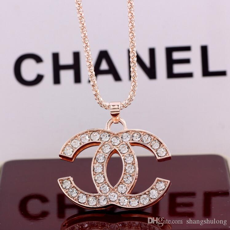 2018Women Letter C Luxury Necklace Rhinestone Pearl Chain Pendant Necklace Gift for Love Brand Jewelry Accessories GiftA4570
