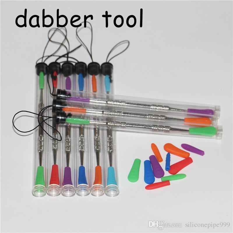 Dabbers De Cera dabbing ferramenta com dicas de silicone 120mm dabber ferramenta de aço inoxidável ferramenta de limpeza de tubos de aço e tubos de plástico