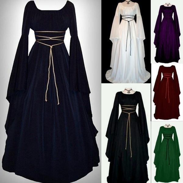 2019 women medieval renaissance retro gown cosplay costume dress