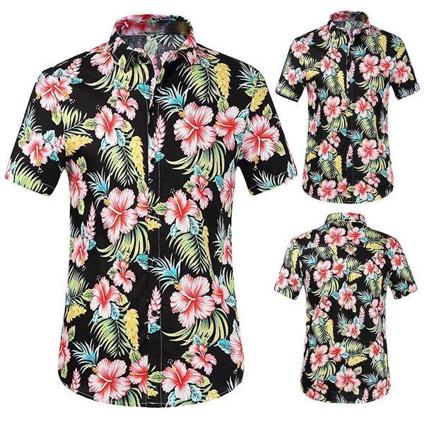 bdca0ef1e95 Compre Camisas Florales Para Hombre Tops Blusa Camisa De Playa Hawaiana De  Manga Corta Casual A  33.51 Del Mvxpppp