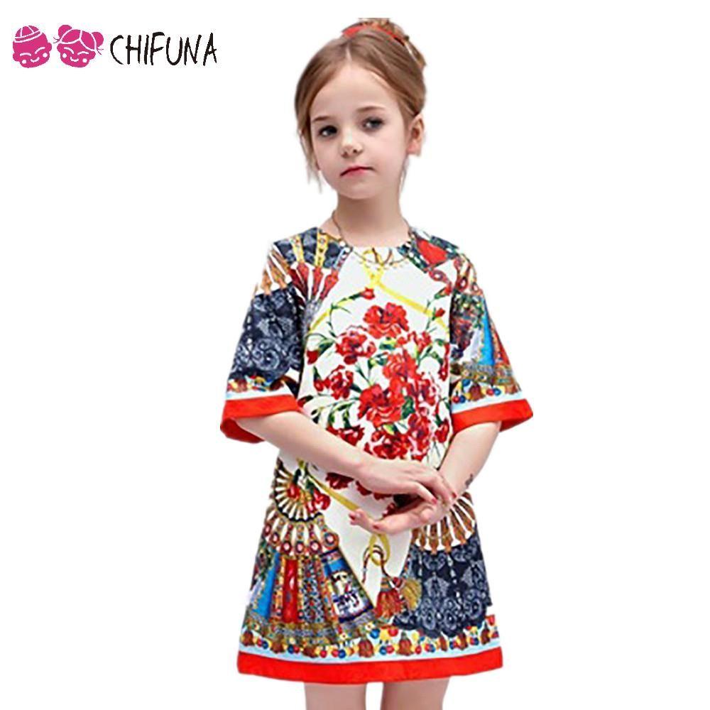 b2fcfa7166d8 2-10Y Baby Girl Dress Floral Pattern A-Line Princess Dress Girls ...