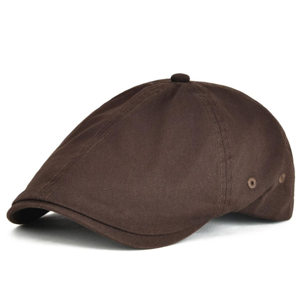 2019 VOBOOM Twill Cotton Ivy Flat Cap Men Women Coffee Brown Casual ... 7ff2182078e2