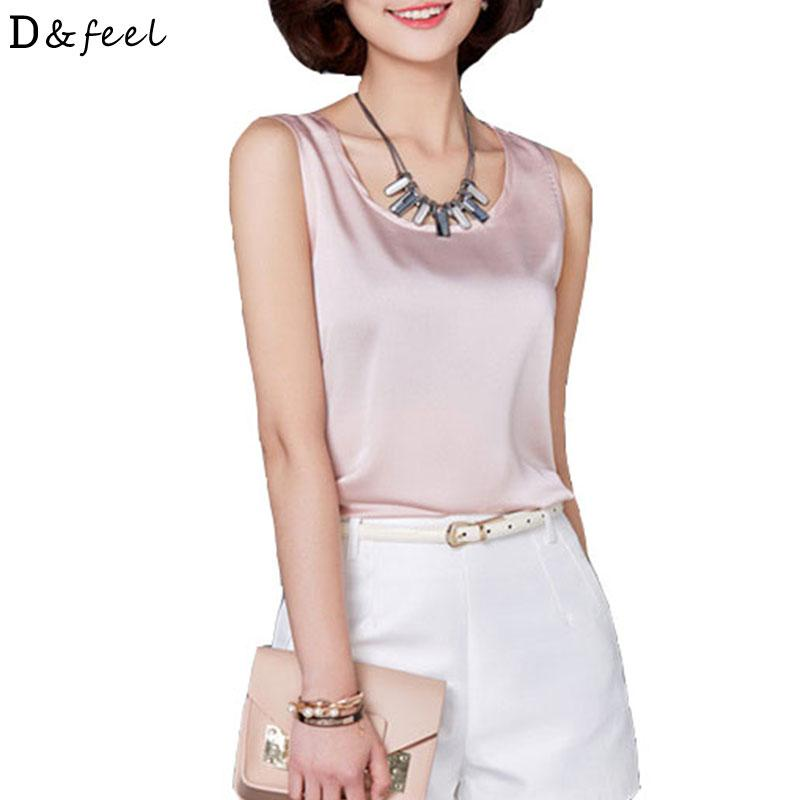 b8fc9b5a74b2 2019 2018 Summer Tank Tops For Women Satin Solid White Black Pink ...