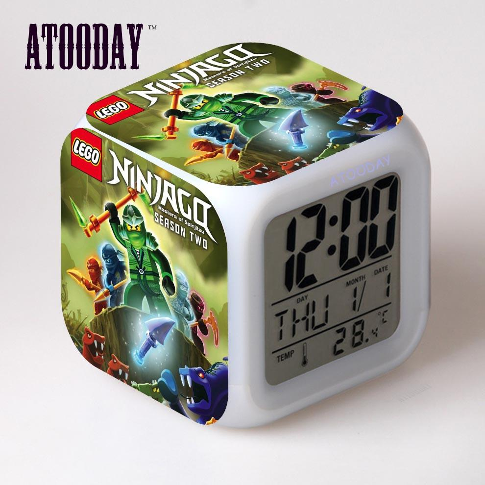a021f624ce94 2019 ATOODAY Ninjago Alarm Clock Led Light Change Lcd Display Watch Klok  Projection Clock Square Digital Car Dashboard Vintag From Industrial