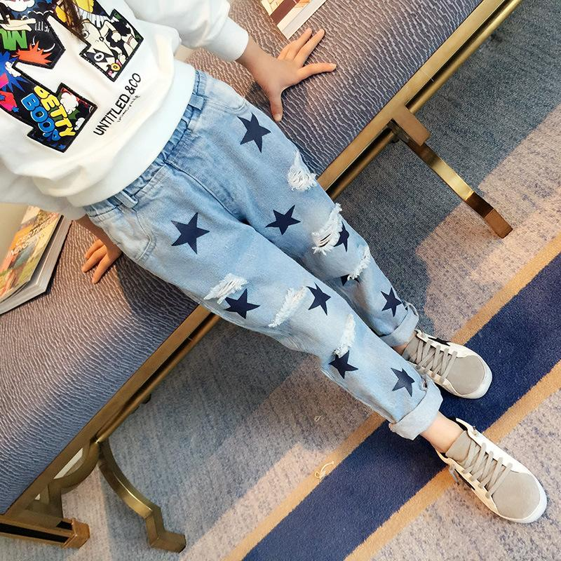 Jeans For Girls 2017 Spring New Brand Star Big Hole Pants For Children Girl Casual Patchwork Geometric Pattern Trousers Hot Sale