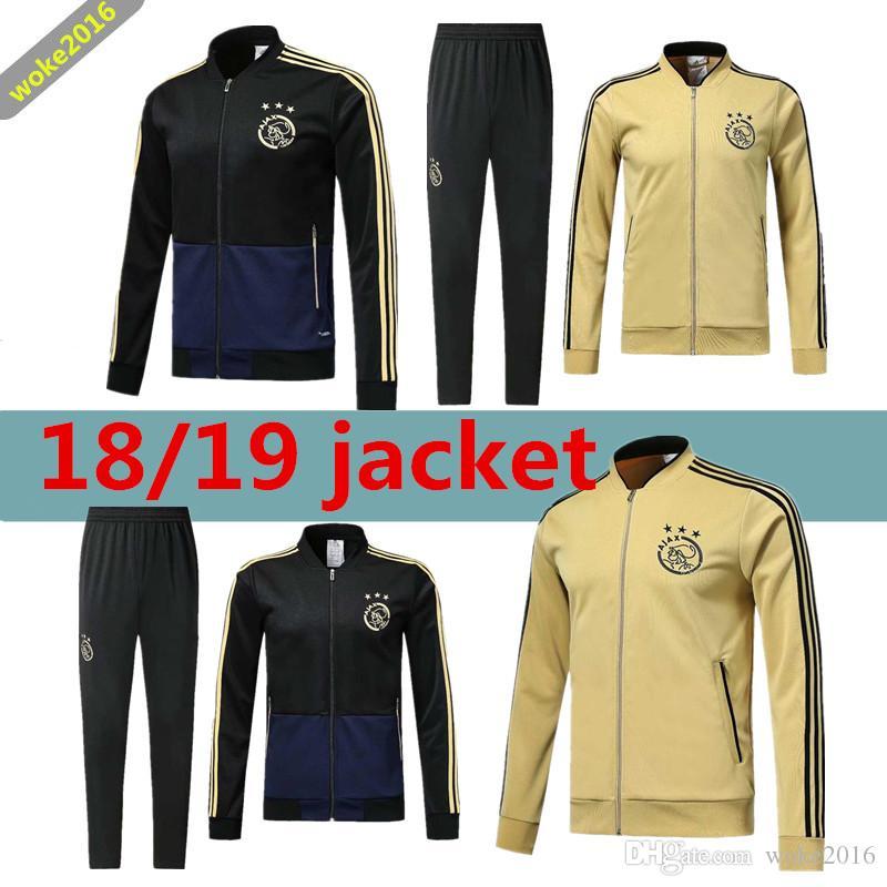 04bfb7b3bb2c8 Compre 18 19 Ajax FC Jaqueta De Treinamento Terno 2018 2019 HUNTELAAR  DOLBERG NOURI ZIYECH Ajax Jaqueta De Futebol Longo Zíper Sportswear Terno  De Futebol ...