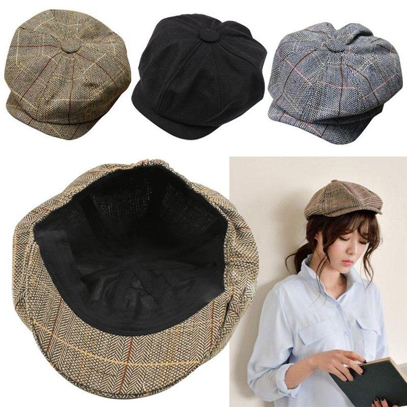 4ebff5c48cb 2019 Men Women Newsboy Hat Driving Flat Gatsby Tweed Sun Hat Country ...