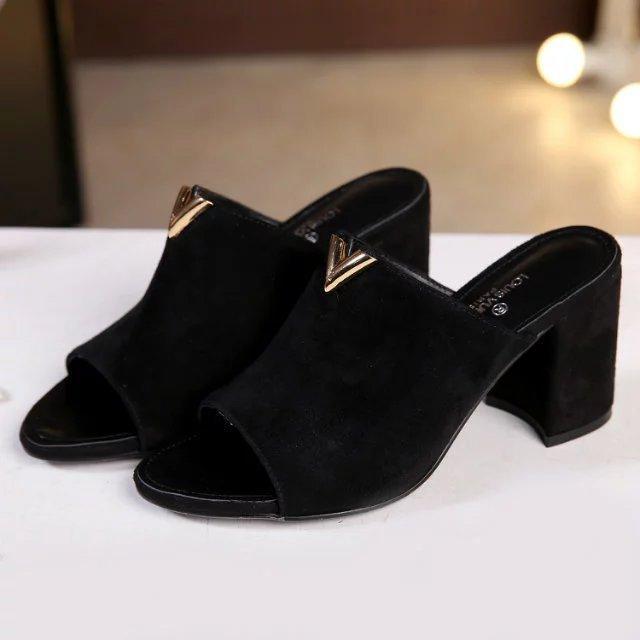 3a423842950 2019 Original Imported Calfskin Slippers Women High Heels Lolita ...