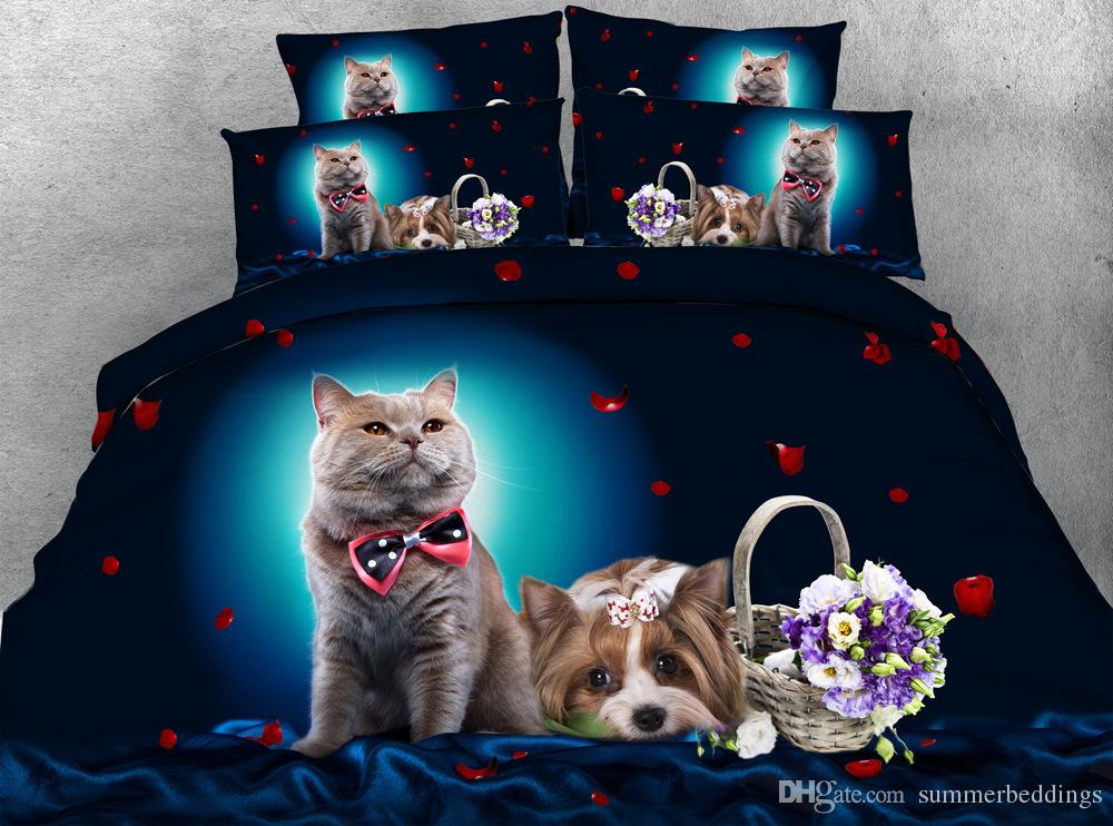 3d Bedding Sets Queen Floral Christmas Duvet Cover Cat Dog Flowers