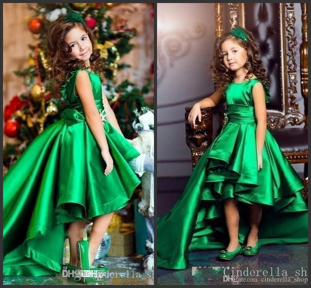 2d22fff8cb30 2018 Emerald Green Hi Lo Girls Pageant Jewel Sleeveless Satin Flower Girls  Child Birthday Party Wear Communion Gowns Cheap Smocked Dresses Flower Dress  From ...