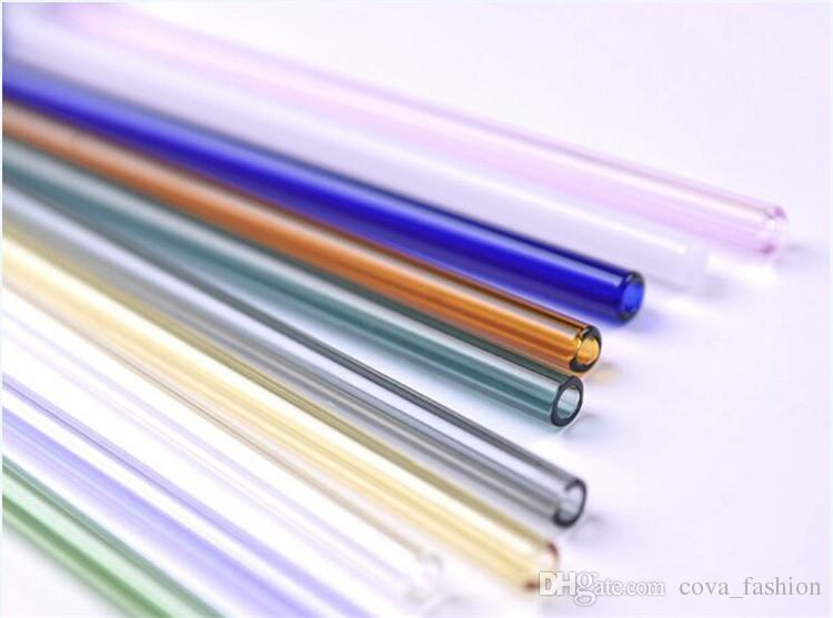Reusable Eco Borosilicate Glass Drinking Straws Clear Colored Bent Straight Straw 18cm*8mm Milk Cocktail Drinking Straws
