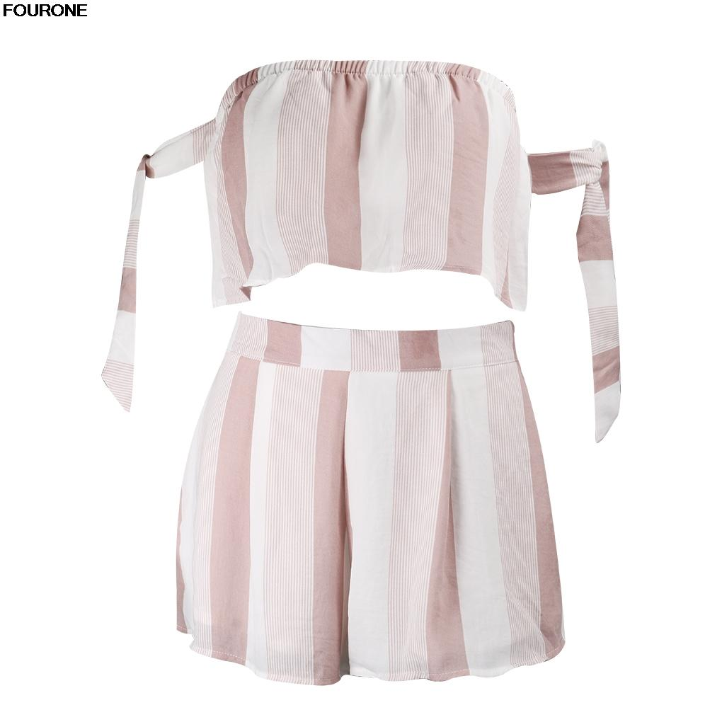 9931f34a77c FOURONE 2018 Striped Bow Sleeve Jumpsuits Romper Women Off Shoulder ...