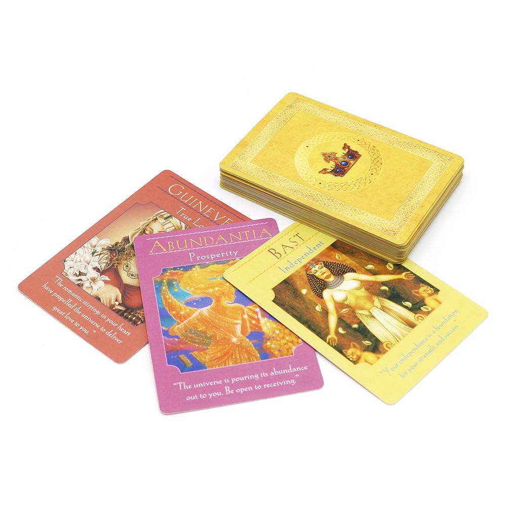 full English Goddess oracle cards deck 44 cards, tarot cards guidance with E-book for family fun board game