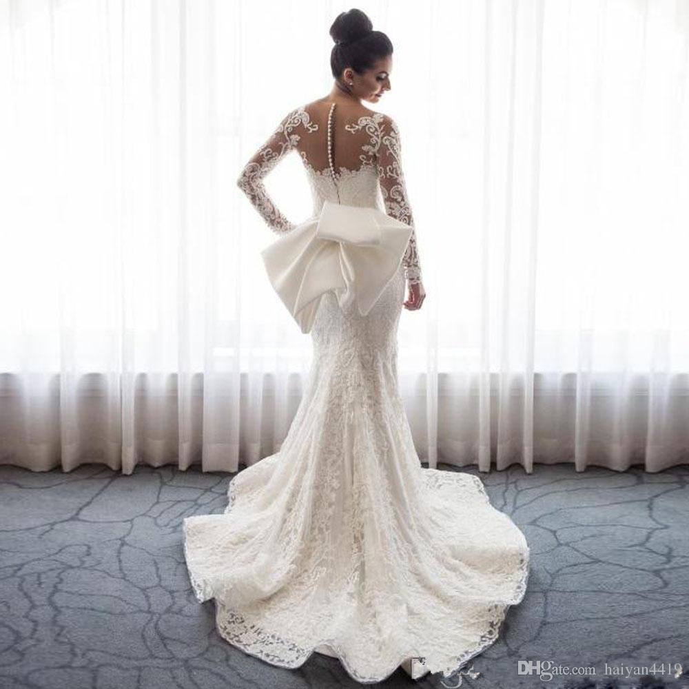 2018 Mermaid di lusso abiti da sposa collo a maniche lunghe maniche lunghe illusione di pizzo applique arco oversize pulsante indietro cappella treno abiti da sposa
