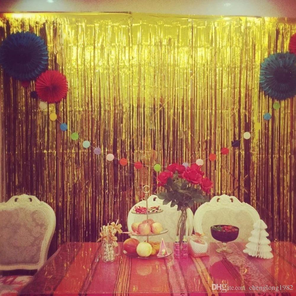 New 1mx2m Shimmering Gold Silver Metallic Tinsel Curtain Foil Room ...