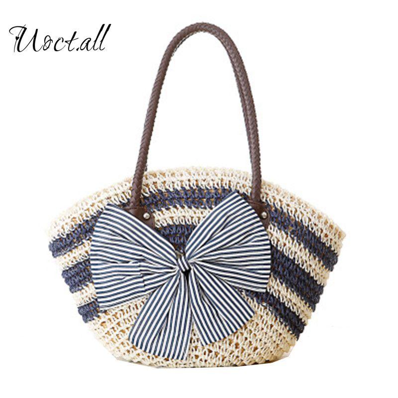 All 2018 New Summer Style Beach Handbags Striped Large Bow Knitting Straw  Bag Handbags Beach Bag Handbags Purses From Diyplant 690ebd1459621