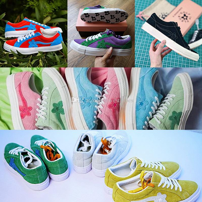62f5149d3e04 2019 New TTC The Creator X One Star Golf Le Fleur Wang Suede Red Blue  Purple Green Yellow Pink Sunflower Casual Skate Shoes With Bag Box From  Newestshoes