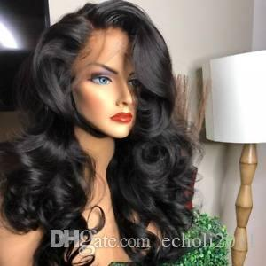 250% Full natural Density Lace Front human hair Wigs Mongolian Loose Curly Virgin Human Hair wigs pre plucked 12-24inch free ship