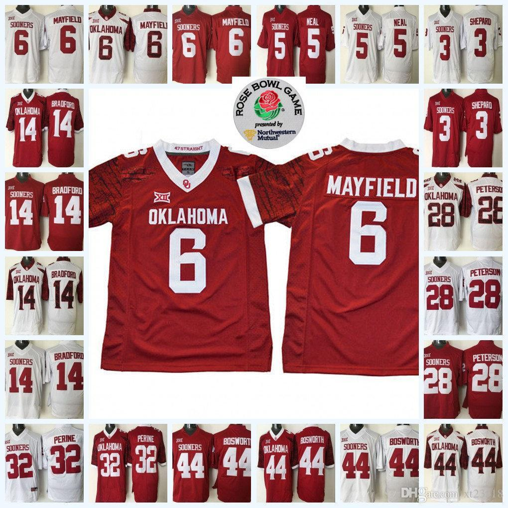 239b073e913 2019 Mens NCAA Oklahoma Sooners Baker Mayfield College Football Jersey 28  Adrian Peterson 44 Brian Bosworth 14 Sam Bradford OSU Sooners Jersey From  ...