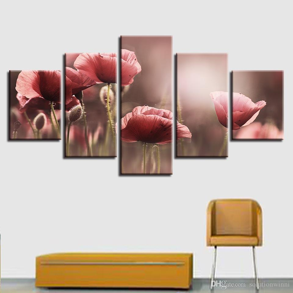 2018 Art Canvas Pictures Modular Frame Beautiful Pink Flower