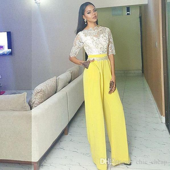 fed036a4ec Lace 1 2 Sleeves Jewel Bright Yellow Color Jumpsuits Elegant 2018 Cutsom  Made Evening Gowns Arabic Evening Dressed Evening Dresses Black From  Chic cheap