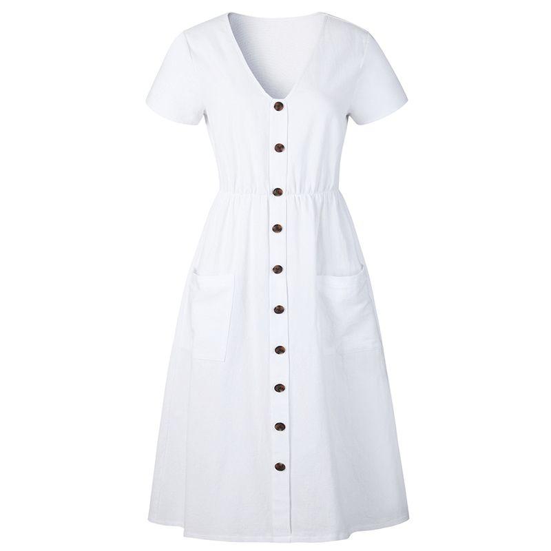 ec99bc0bc0aa 2019 New Fashion Women Buttons Dress V Neck Short Sleeve Front Pocket Summer  Dress Slim High Waist Holiday Beach Midi Dress Womens Sun Dress White  Dresses ...