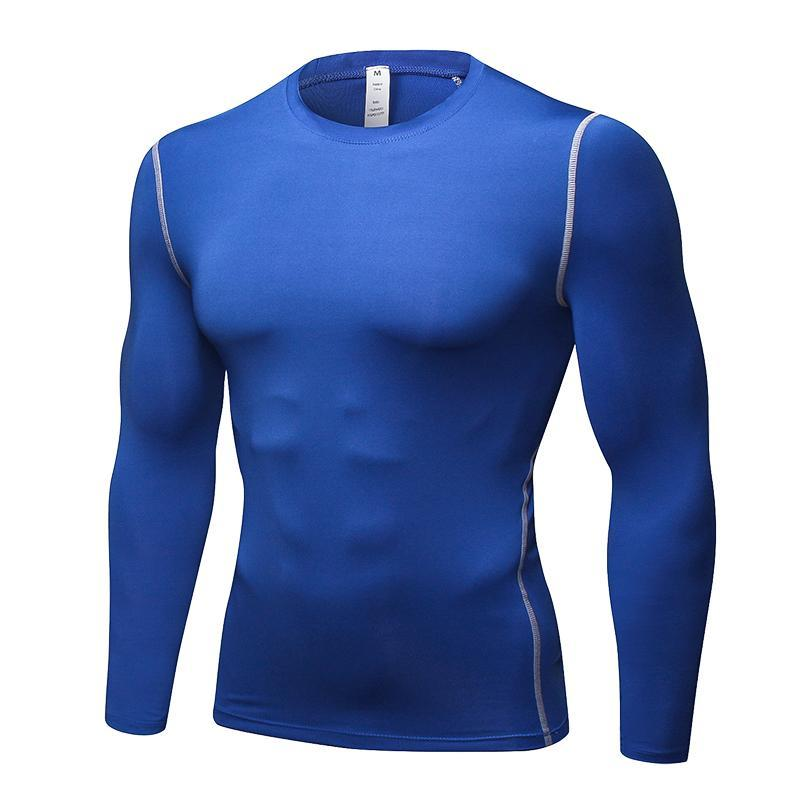 Camiseta Deportiva Secado Hombre De Gimnasio Manga Rápido Para Fitness Libre Negro Compresión Larga Al Aire Ropa Hombres Gym 2018 76fgbyY
