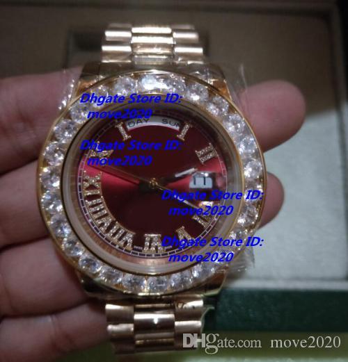 917d52a0ff1 Compre Caixa Original Vermelho Dia Data 45 Milímetros De Ouro Amarelo  Relógio Mecânico Automático Dos Homens 218238 Pulseira De Aço Inoxidável  Diamante ...