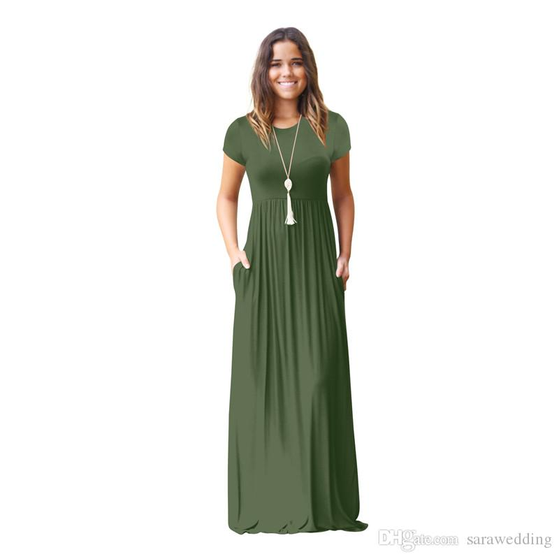 Robe Femme Ete 2019 O Cuello una línea Vestido de mujer Nueva manga corta de verano Vestido largo Zaful Vestidos de playa