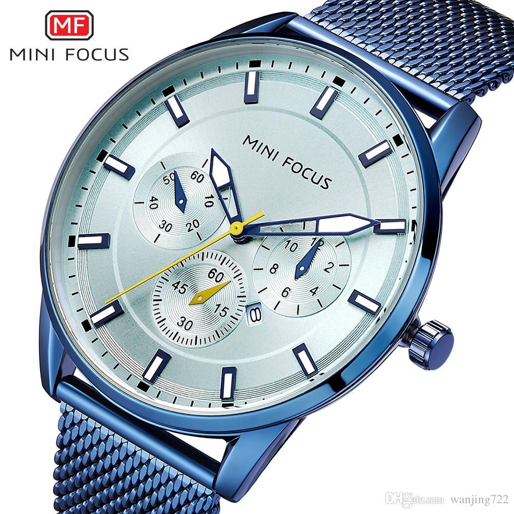 71bba6db65f Compre Mini Foco Moda Relógio De Quartzo Dos Homens De Luxo Top Marca Homens  De Aço Azul Relógios À Prova D  água Relógio De Pulso Homem Vestido  Ocasional ...
