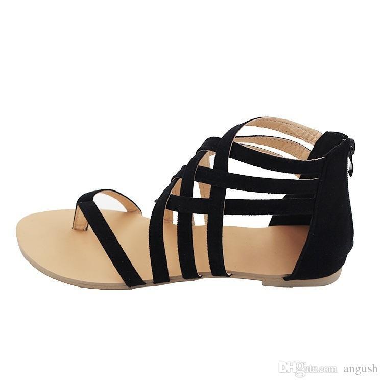 Frauen Schuhe Flache Ferse Rom Sandalen 2018 Heißer Verkauf Ausgehöhlte Sandalen Flip-Flops Atmungsaktive Sommer Plus Größe Weibliche Schuhe Schwarz / Grau / Rosa