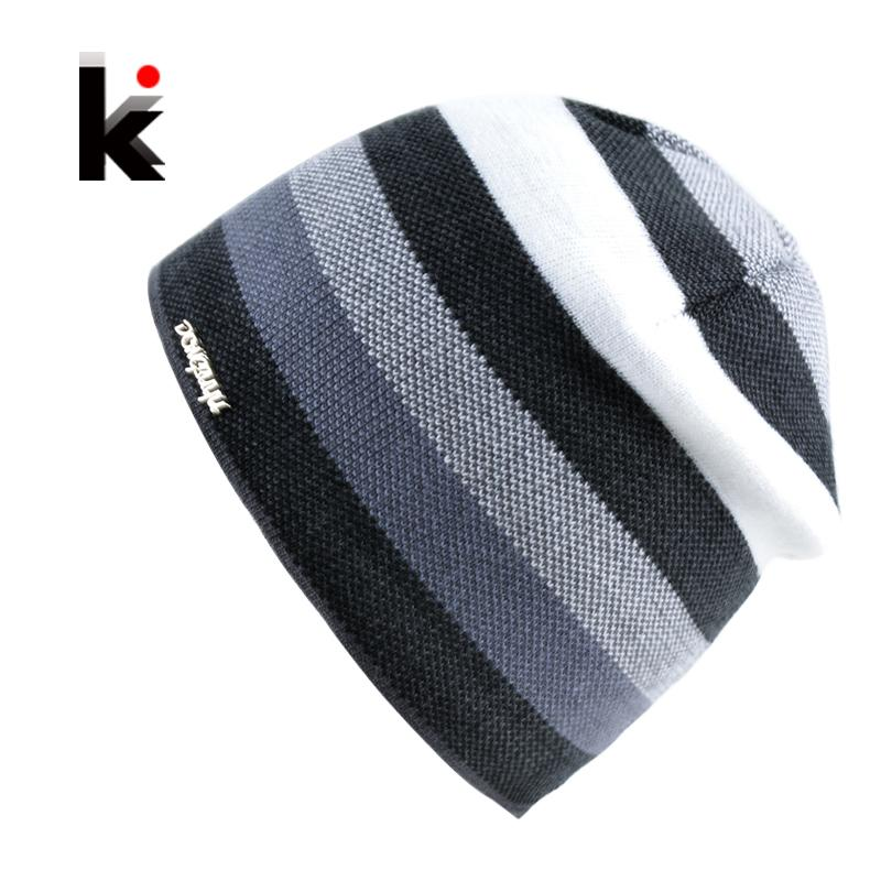 8dd4474d8b6b2 2019 2017 Men S Skullies Hat Bonnet Winter Beanie Knitted Wool Hat Plus  Velvet Cap Thicker Stripe Skis Sports Beanies Hats For Men From Heheda5